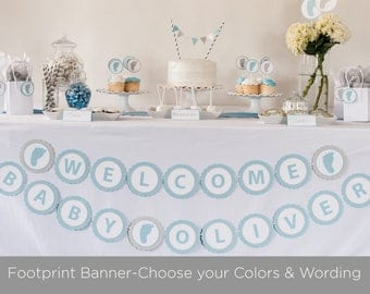 Footprint Banner - Baby Shower Decoration -  Welcome Baby Banner - Personalized Baby Shower Banner -