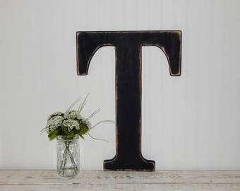 Large Wooden Letter T Distressed 23 Inch Wood Letters Made To Order Wall Letters Wedding Guestbook Alternative