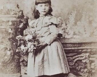 Original Antique Cabinet Card Photograph Little Obstinate Girl
