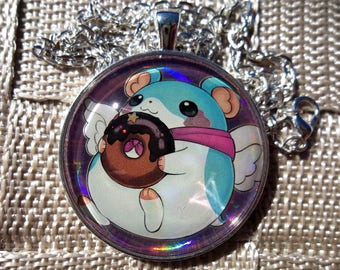 Fluffal Mouse HOLO Pendant Charm made from Trading Cards