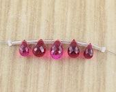 Raspberry Red Quartz Briolettes - Tear Drop Shaped Quartz - Gemstone Beads - WHolesale - Destash Lot - Final Sale