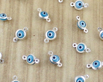 Tiny Sterlinig Silver Evil Eye Charms - Bezel Set Evil Eyes - 1.99 Each - Going out of business sale.