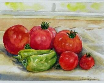 SALE Tomatoes and Peppers - original watercolor food painting vegetable art homegrown vegies