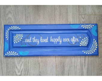 Upcycled Home Decor, Primitive Wooden Sign, Royal Blue Painted Sign, Happily Ever After, Upcycled Wedding Decor