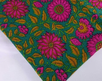 Green and Pink Floral Print Rayon Fabric-Hand Block Printed Rayon Dress Fabric-Rayon Fabric For Dress-Fabric by Yard
