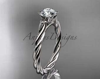 "14k white gold rope engagement ring with a ""Forever One"" Moissanite center stone RP835"