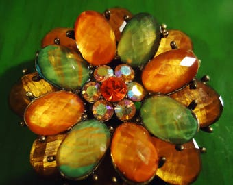 Vintage 1990s Tangerine and Green In Brilliance Flowered Brooch