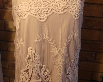 RESERVED Erica Vintage Nude Taupe Lace Sleeveless Blouse