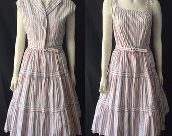 1950s sundress and bolero red white and blue