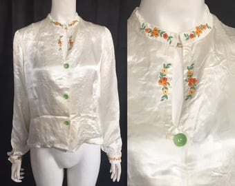 1930s embroidered satin blouse