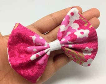 Pink sakura bow tie collar attachment for cats and small dogs