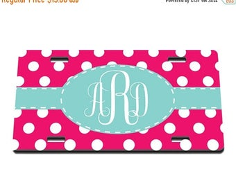 ON SALE NOW Polka Dot and Monogram Printed Personalized License Plate / Gift Idea / Gift for her / New Driver / Car Accessories / New Car /