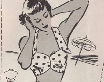 "1950's Marian Martin Beach Bra Top Pattern - Bust 32""-34""-36"" - From Marian Martin Catalogue Summer of '50"
