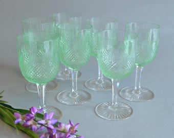 Green Cordials Green Wine Glasses Port Glasses Green Stemware Green Cut Crystal Stemware Green Crystal Cordials Unique Crystal Stenware