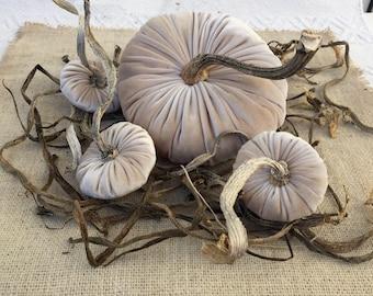 Beige Velvet Pumpkins Home Halloween Decor, Fall Country Home Accent Fall and Halloween Decor - set of three
