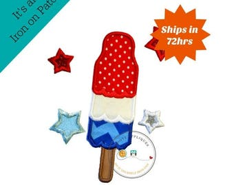 ON SALE NOW July 4th bombpop with stars iron on applique, embroidered fabric pop sickle and stars applique, patriotic holiday iron on pop si