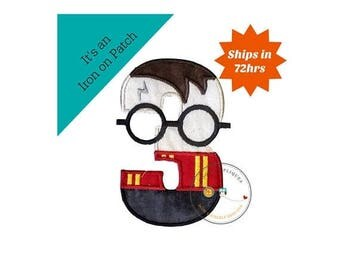 ON SALE NOW Boy Wizard birthday number 3 inspired by Harry Potter machine embroidered fabric iron on no sew patch,  Barn yard patch for kids
