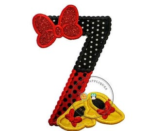 ON SALE NOW Red and black birthday number 7 with glitter bow iron on embroidered applique, 7th birthday patch for girl, Minnie inspired iron