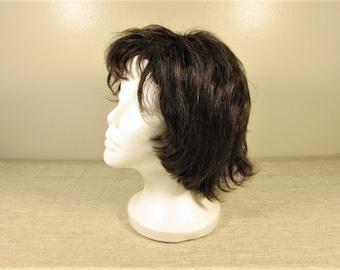 Dark Brown Human Hair Wig - Vintage Layered Medium Length Wispy Bangs