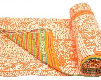 Vintage Kantha Quilt Gudri Reversible Throw Ralli Bedspread Bedding India OG1067