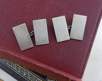 Vintage  Sterling Silver Engine-Turned Cufflinks, Double Panel Chain Cuff Links, Men's Cufflinks, Rectangle Cufflinks