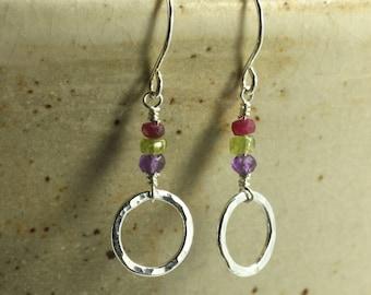 Hammered Fine Silver Hoop Earrings with Faceted Beads, Sterling Silver Earrings, Hammered Silver Earrings, Ruby, Amethyst, Peridot
