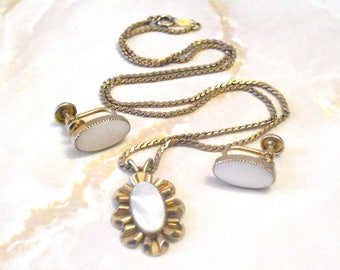 Vintage Mother of Pearl Gold Filled Necklace and Earring Set