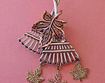 Pretty Autumn Brooch-Rakes with Leaves Falling from the Bottom