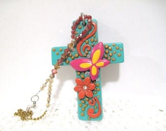 Large Colorful Cross, Rear View Mirror Charm, Free Shipping, Turqoise, Truck Charm, Car Charm, turquoise butterfly, orange flower, crystals