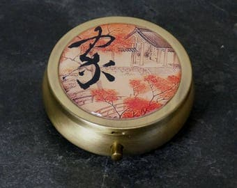 Pill Box Medicine Case Trinket Box Pill Case Japanese Calligraphy Home