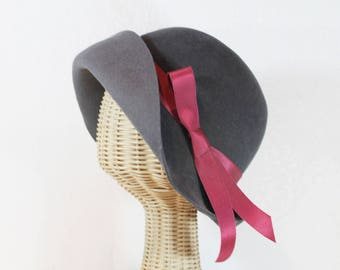 Cloche Hat in Soft Grey Velour Felt ~ Lady Mary ~ 20s, Downton Abbey, rain hat, ribbon ~ handmade by Bonnet, your local Portland millinery