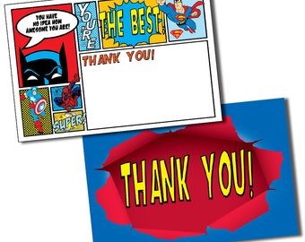 Super Hero Thank You Cards, Super Hero Thank You Notes, Superhero Thank You Card, Hero Thank You Card, Superhero Thank You Note, Hero Party