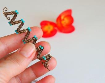 Turquoise Dread hair bead Rasta dreadlock cuff loc accessories Gemstone Wire wrapped jewelry Spiral Viking Braids Hair Decoration
