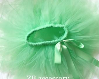 Mint tutu, Pale green tutu, girls tutu skirt, handmade tutu with fabric flower, Wedding flower girl skirts Spring green Birthday girls tutu,