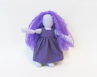 "Purple pocket doll with long curly purple hair, monocomatic purple doll, 7"" hemp linen doll, heirloom doll, Eco-friendly travel size doll"