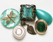 destash of aqua turquoise green brass gold salvaged jewelry components for creating assemblages or ooak designs--mixed lot of 7 items