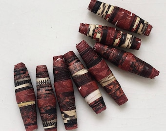 brick red multicolored handmade paper beads--lot of 8