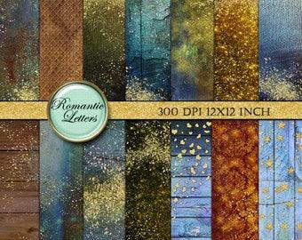 Gold pixie dust Digital gold glitter paper digital scrapbook paper background digital gold foil confetti digital Fairy tale sparkles paper