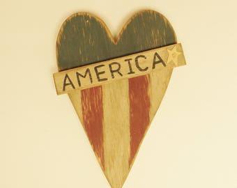 Primitive Americana Heart Wall Decor, Wood Hearts, Country Farmhouse Decor