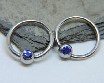"""Nipple Rings SET of 2 - Inlaid Cobalt Blue Crystal Captive Ring - CBR 16 or 14 Gauge 3/8"""" 7/16"""" 1/2"""" 5/8"""" Nipple Bars - For Any Piercing"""