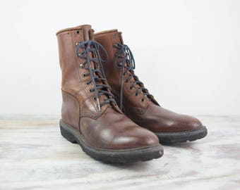 Size 10, Sole Tech Lace up Ankle Boots, Distressed Brown Oil Leather Uppers, Rubber Soles (Women's US Size 10, UK Size 8)
