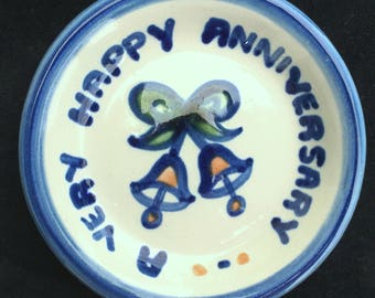 """M.A. Hadley """"A Very Happy Anniversary"""" 4-1/8"""" Coaster Like New Condition"""