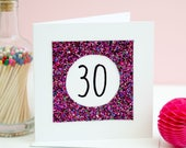 30th Birthday card - Pink Glitter card - Card for 30th birthday - Birthday Card - Handmade birthday Card - 30th card