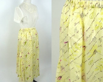 SUMMER SALE Clearance Vintage 1990's yellow floral Silk Skirt - Full Length Flowing Hippy Skirt - Breezy Summer Skirt - ladies size medium t