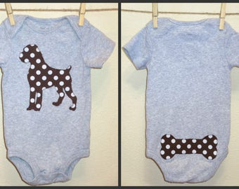 Pick your dog breed!  Custom made baby onsie in the applique fabric of your choice.