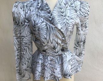 Vintage Wounded Bird 80s peplum retro blazer jacket black white All that Jazz sz M/L
