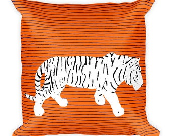 Orange and Blue Striped Square Decorative Throw Pillow Animal Print Tiger
