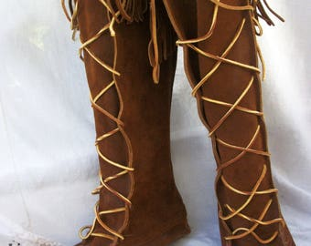 MINNETONKA Moccasins ~ Leather / Suede ~ Vintage TALL Lace Up Moccasin Boots ~ Size 6 1/2 // 7