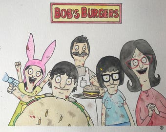 Zombie Bobs Burgers Family Original Watercolor Painting