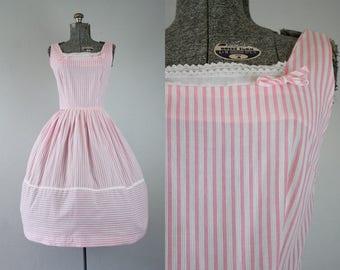 1950's Pink and White Stripe Sun Dress / Size Medium